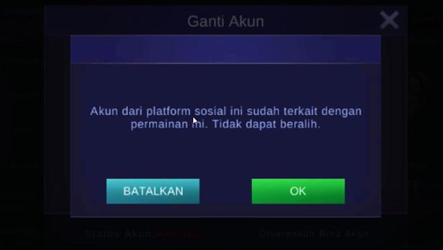 Akun dari Platform Sosial ini Tidak Terkait dengan Game dalam Mobile Legends