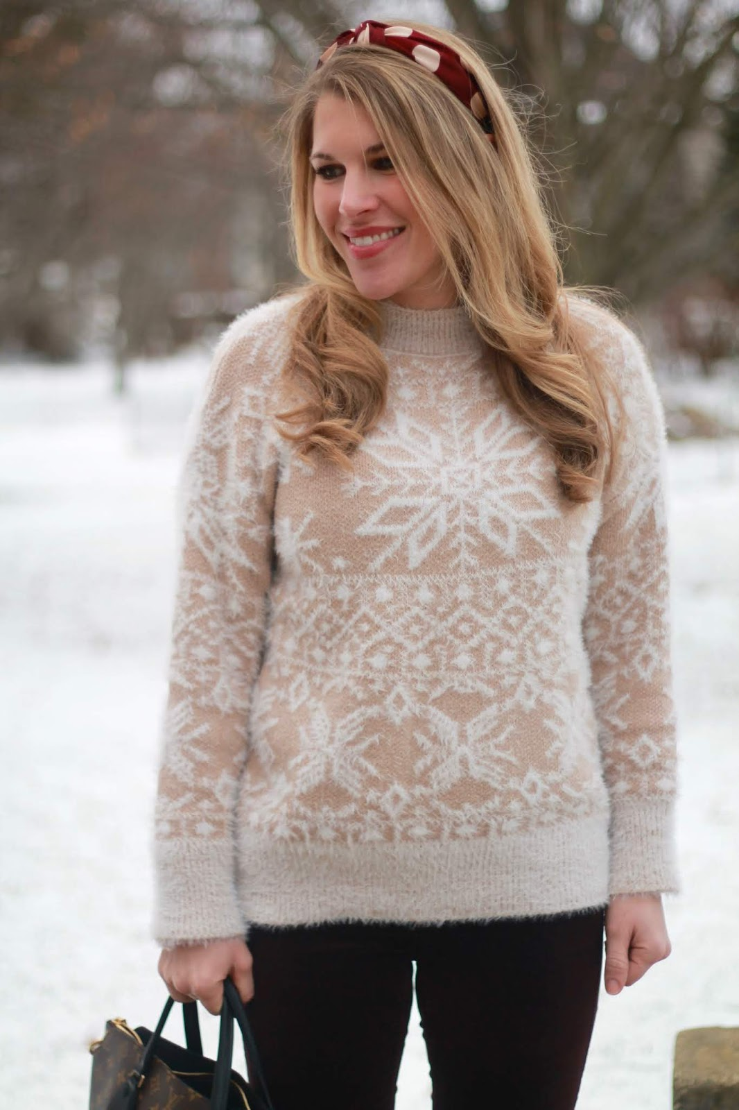 snowflake eyelash sweater, fabric headband, burgundy velvet pants, OTK taupe boots, LV monogram flower tote