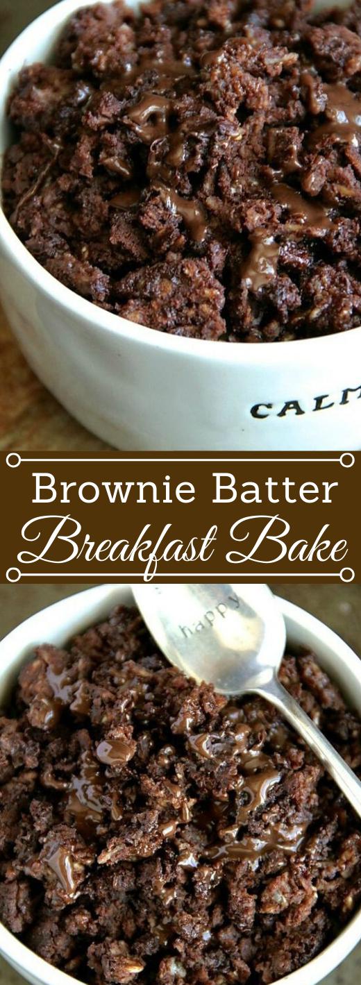BROWNIE BATTER BREAKFAST BAKE #desserts #cakes #easy #bars #brownies