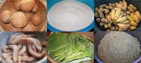 Nhân bánh tét được làm nhiều loại như chuồi, dừa, mỡ, đậu xanh. Vì vậy, nguyên liệu gói bánh gồm dừa khô, nếp dẻo thơm, chuối, đậu xanh cà, mỡ, lá chuối phơi khô, dây từ cọng lá chuối để cột bánh...