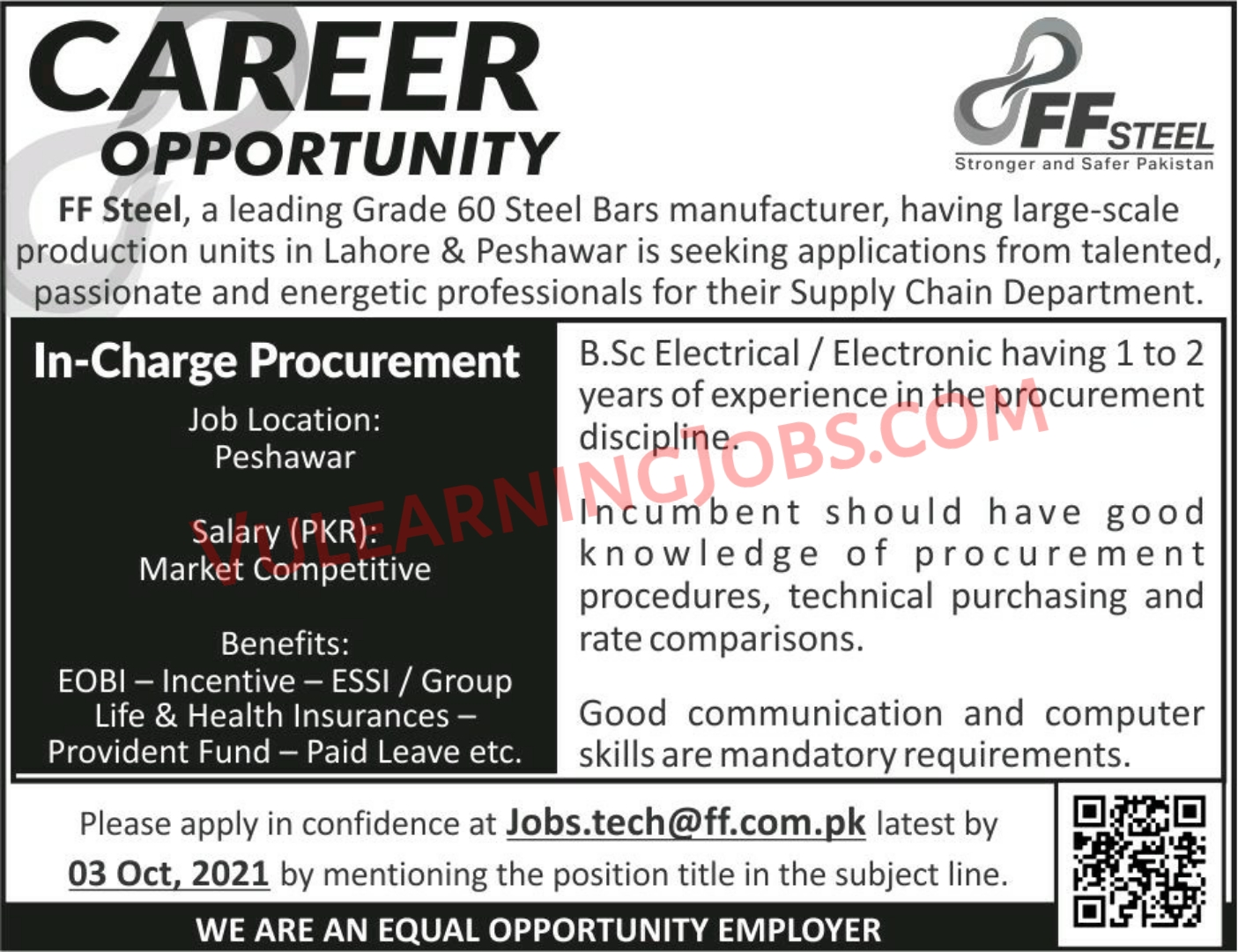 FF STEEL Jobs September 2021 For In Charge Procurement Latest