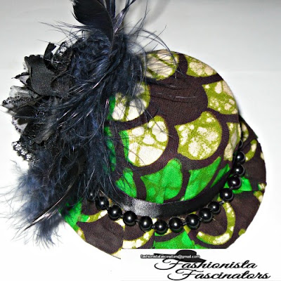 green, cream and black Kenyan, African print fascinator