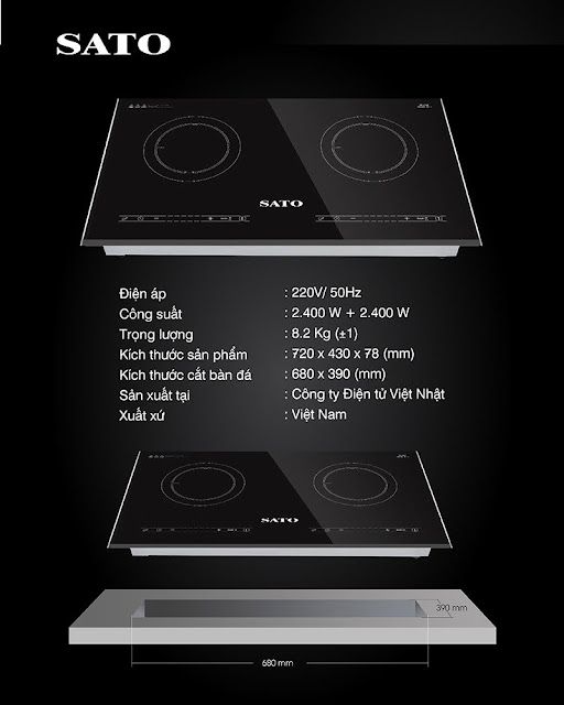 Bếp từ đôi Sato SIH267 N1.1