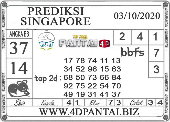 PREDIKSI TOGEL SINGAPORE PANTAI4D 03 OKTOBER 2020