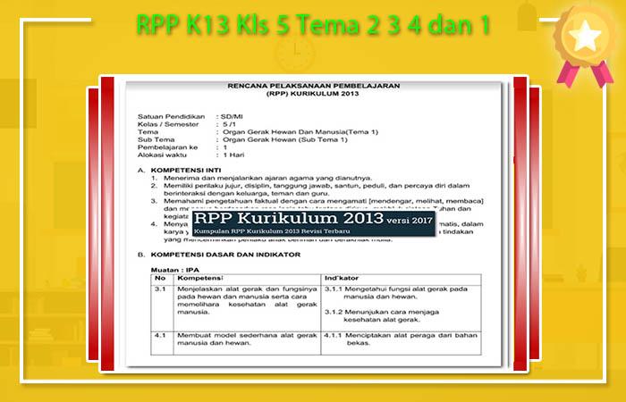 RPP K13 Kls 5 Tema 2 3 4 dan 1