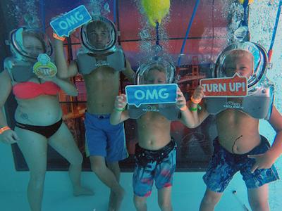 underwater lounge in diving helmet