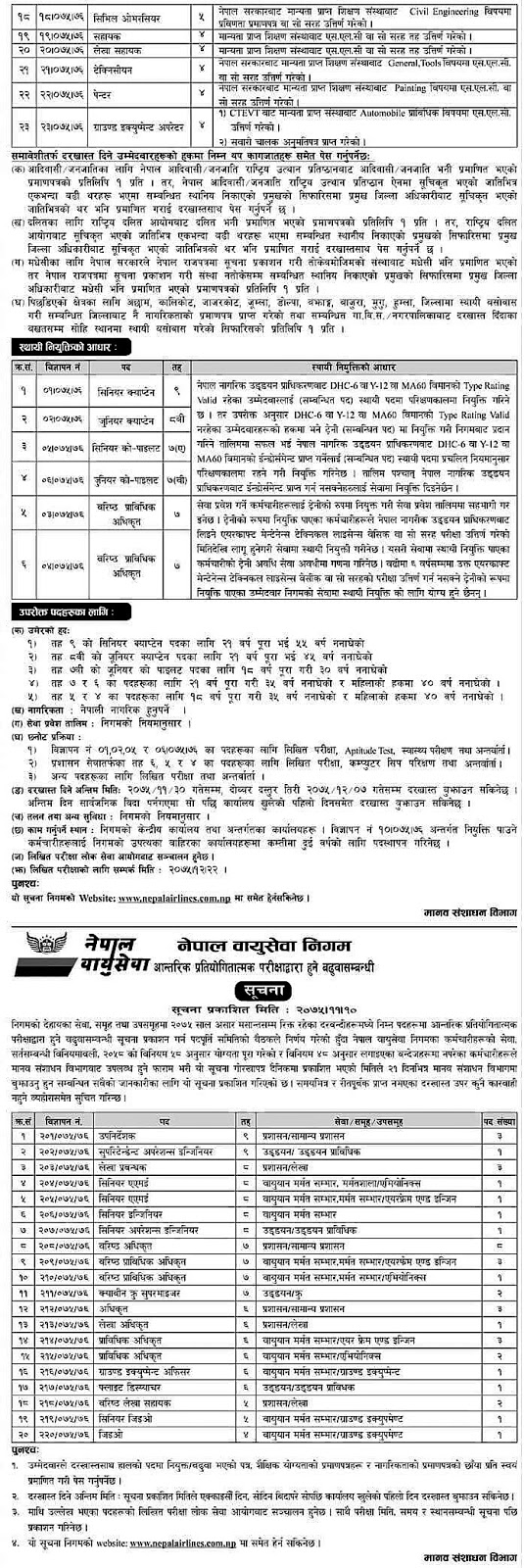Nepal Airlines Corporation Vacancy2