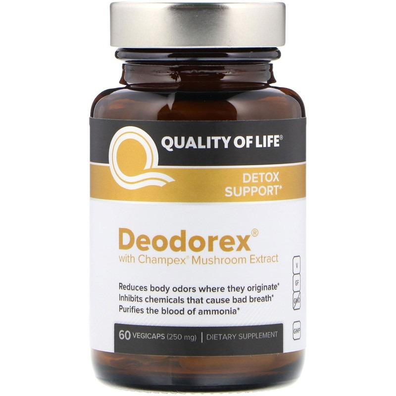 Quality of Life Labs, Deodorex, с экстрактом грибов Champex, 250 мг, 60 капсул в растительной оболочке