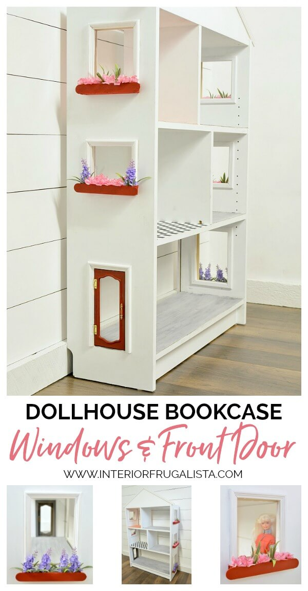 Turn an IKEA Billy Bookcase into a charming dollhouse with plexiglass windows, adorable window boxes, and a repurposed jewelry box chest front door. #dollhousewindowsdiy #dollhousedoordiy #repurposedbookcase #repurposedjewelrybox