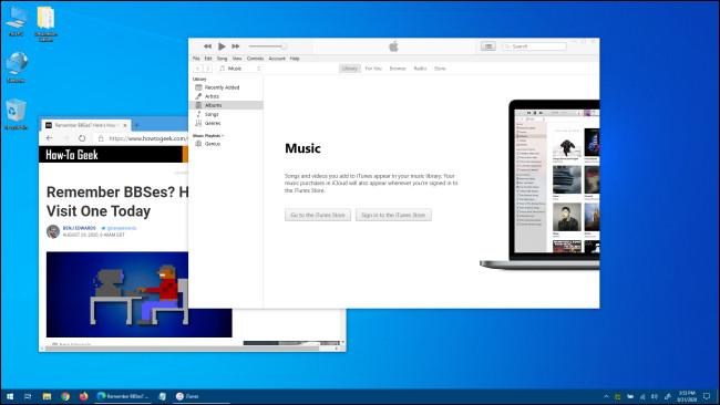 مثال على سطح مكتب يعمل بنظام Windows 10.