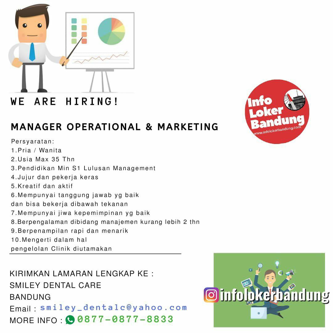 Lowongan Kerja Manager Operational & Marketing Smiley Dental Care Bandung Juni 2019