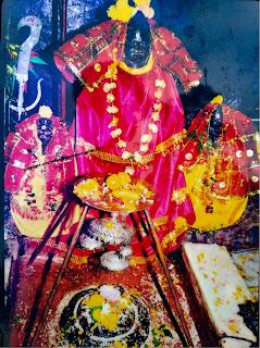 Maha kali mural at the Haat Kalika temple