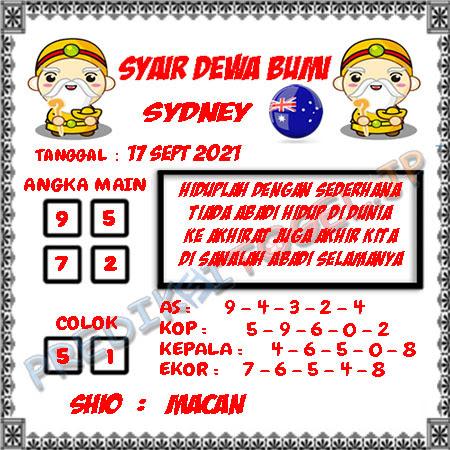 Syair Dewa Bumi Sidney Hari Ini 17-09-2021
