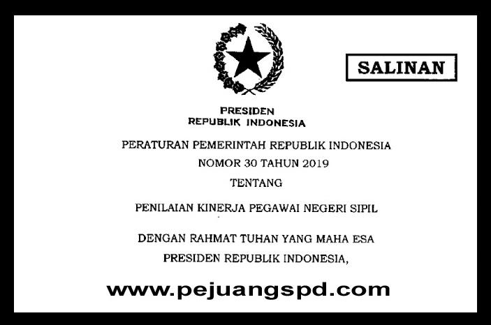 PP NOMOR 30 TAHUN2019 TENTANG PENILAIAN KINERJA PEGAWAI NEGERI SIPIL