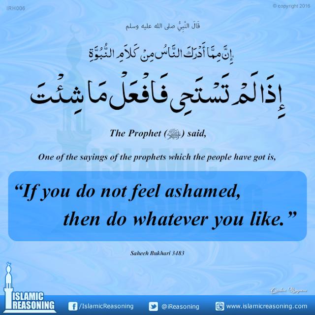 If you do not feel ashamed, then do whatever you like.   Islamic Reasoning Designs