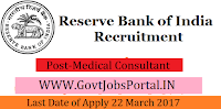 Reserve Bank of India Recruitment 2017– Medical Consultant