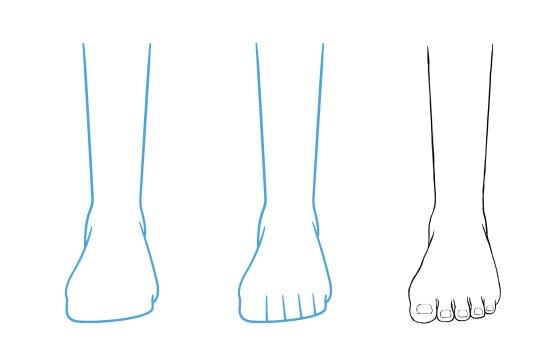 Tampak depan kaki anime