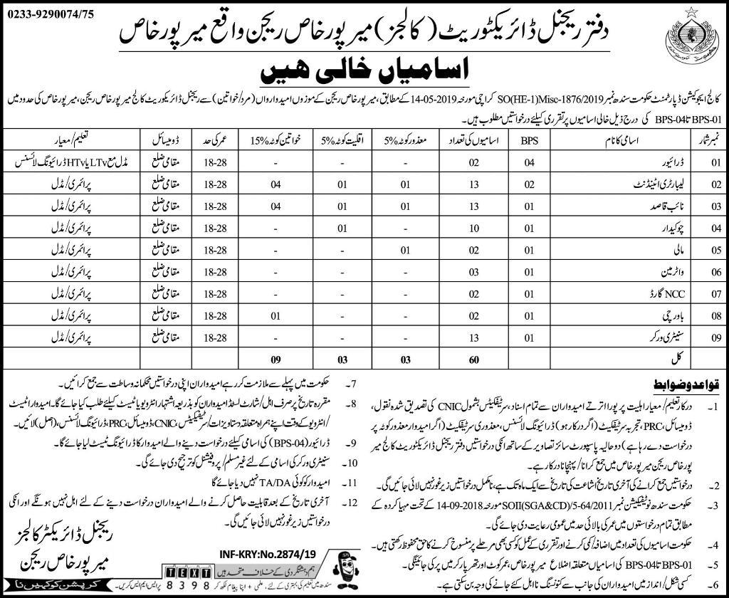 Regional Director Colleges, Mirpur Khas Sindh Jobs 2019