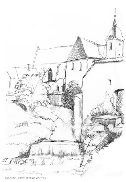 Aggsbach Charterhouse - a former Carthusian monastery in Aggsbach Dorf  (Schönbühel - Wachau, Austria) - sketched on location by Linda S. Leon