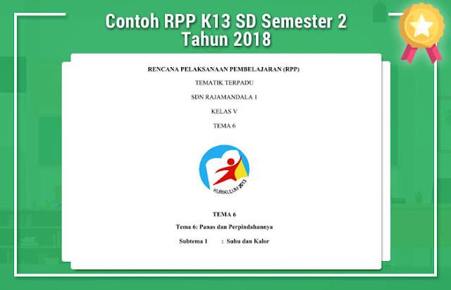 Contoh RPP K13 SD Semester 2 Tahun 2018