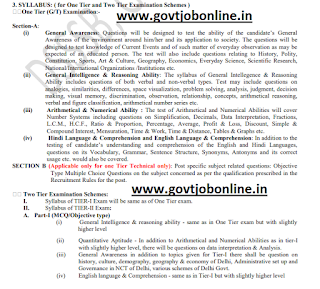 DSSSB Assistant Teachers Primary, Assistant teachers Nursery Jobs Exam Pattern and Syllabus