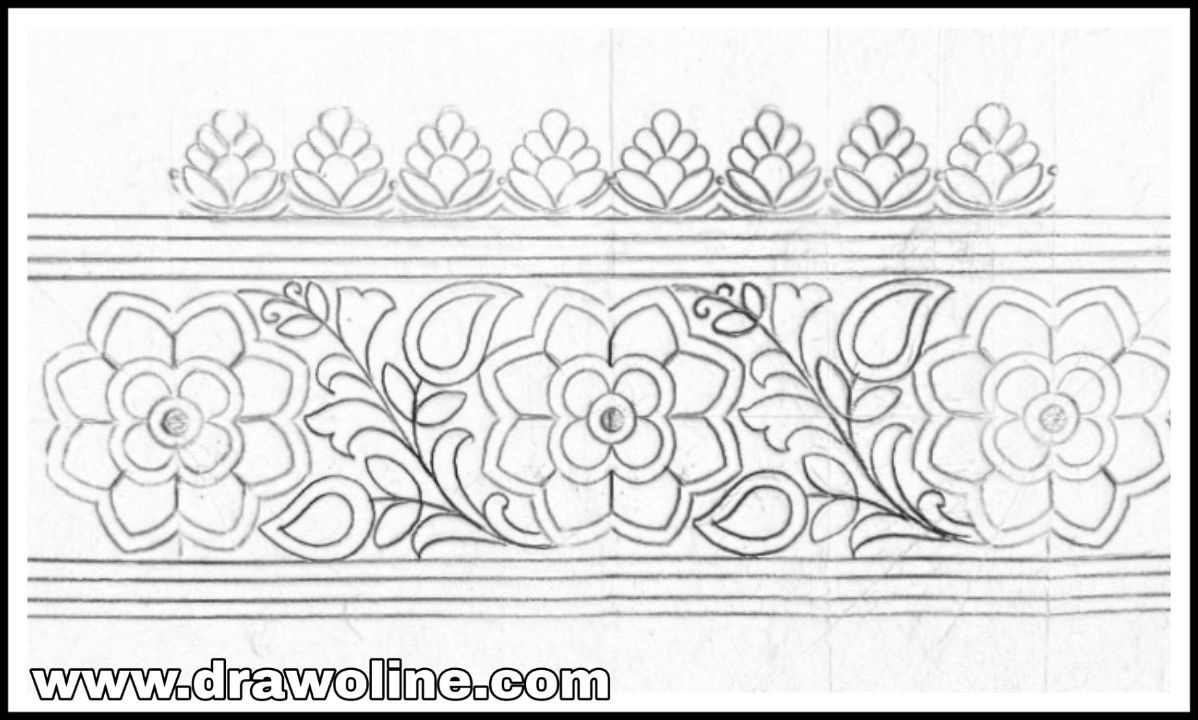 Resham work flowers effected contemporary saree border design drawing and sketch on tracing paper pencil sketch for border designs saree ka kinara drawing