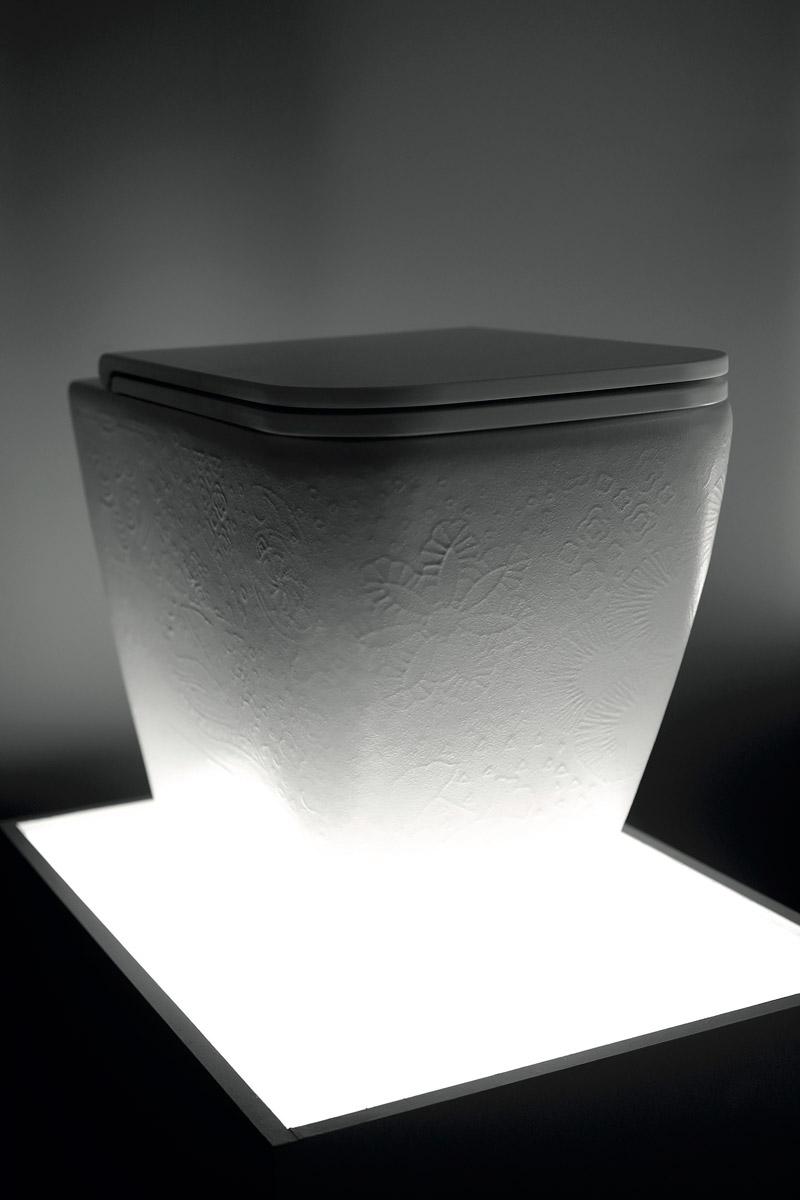 sanitari collezione Quadra nella texture Macramè