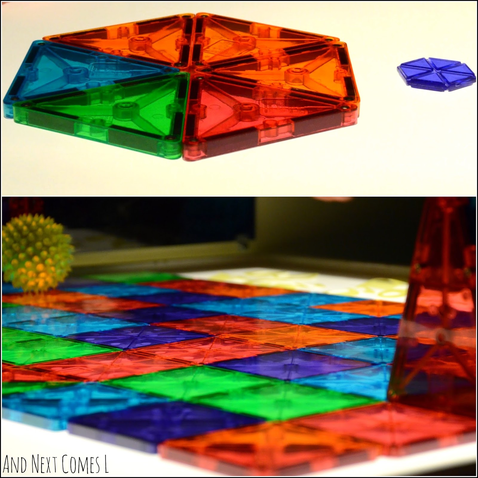 How Magna-Tiles clear colors set look on the light table from And Next Comes L