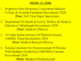 Medical Jobs | Super Specialists | Medical Officers | Record Officers | Medical Professional