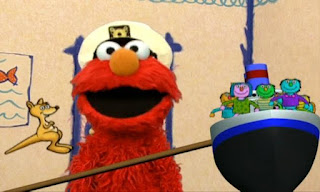 Elmo has a question. how many friends can fit on a boat. Elmo counts, there fits 9 friends and one Kangaru in a boat. Sesame Street Elmo's World Friends Elmo's question