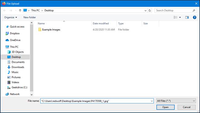 نافذة التحميل في Mozilla Firefox لنظام التشغيل Windows 10