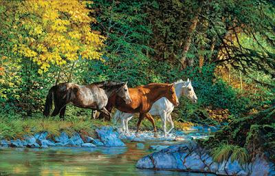 caballos-sobre-agua-paisaje-fondo