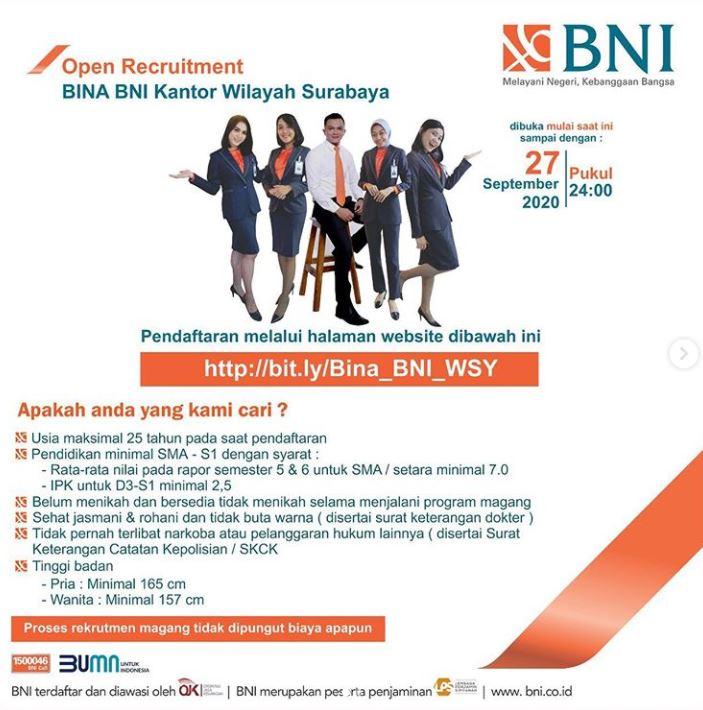 Rekrutmen Bina Bni Kanwil Surabaya Lowongan Kerja Dan Rekrutmen Bulan Mei 2021