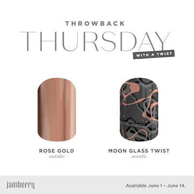 Jamberry Throwback Thursday With A Twist - Rose Gold Metallic and Moon Glass Twist