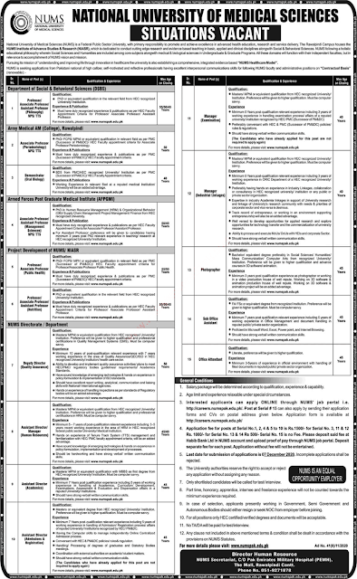 NUMS University  Teaching Jobs 2020 November NUMS University Rawalpindi Latest