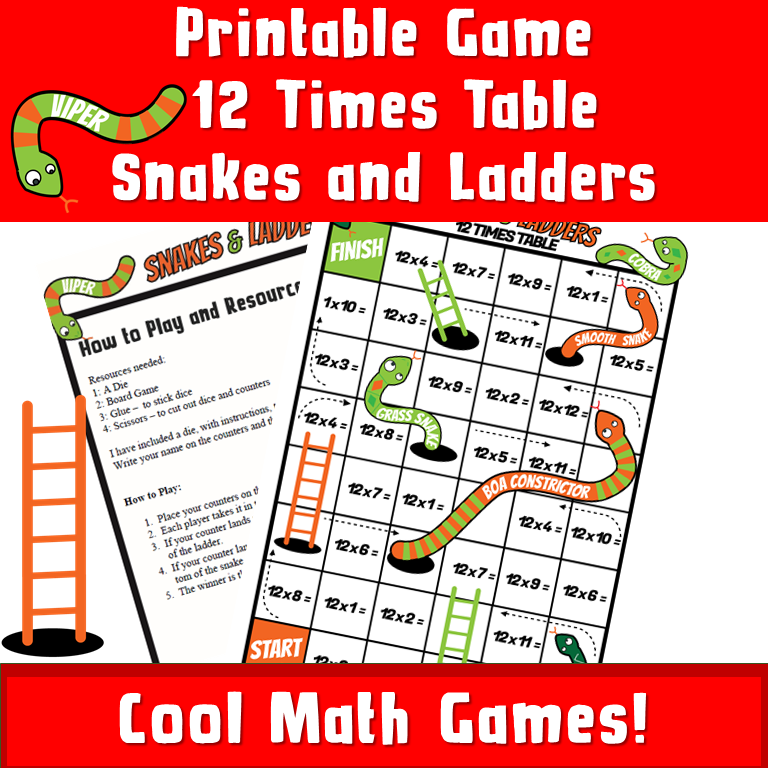 Printable Snakes and Ladder Math Game