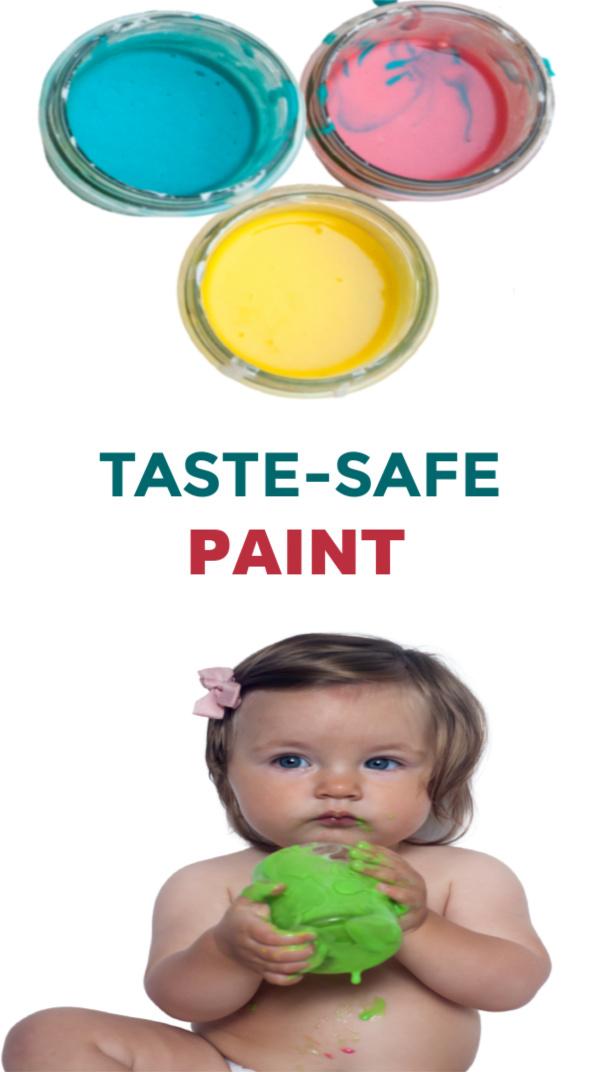 Make paint for kids that is taste-safe with this easy recipe! #babypaintingideas #babypaintrecipe #tastesafepaint #fingerpaintingideasforkids #growingajeweledrose