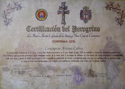 Certificado que acredita la peregrinacion a Caravaca de la Cruz