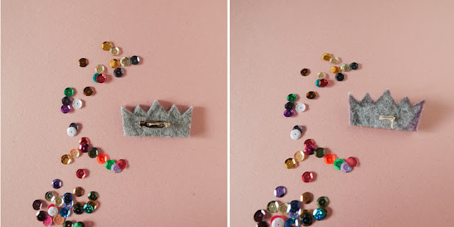 DIY broche couronne en sequins