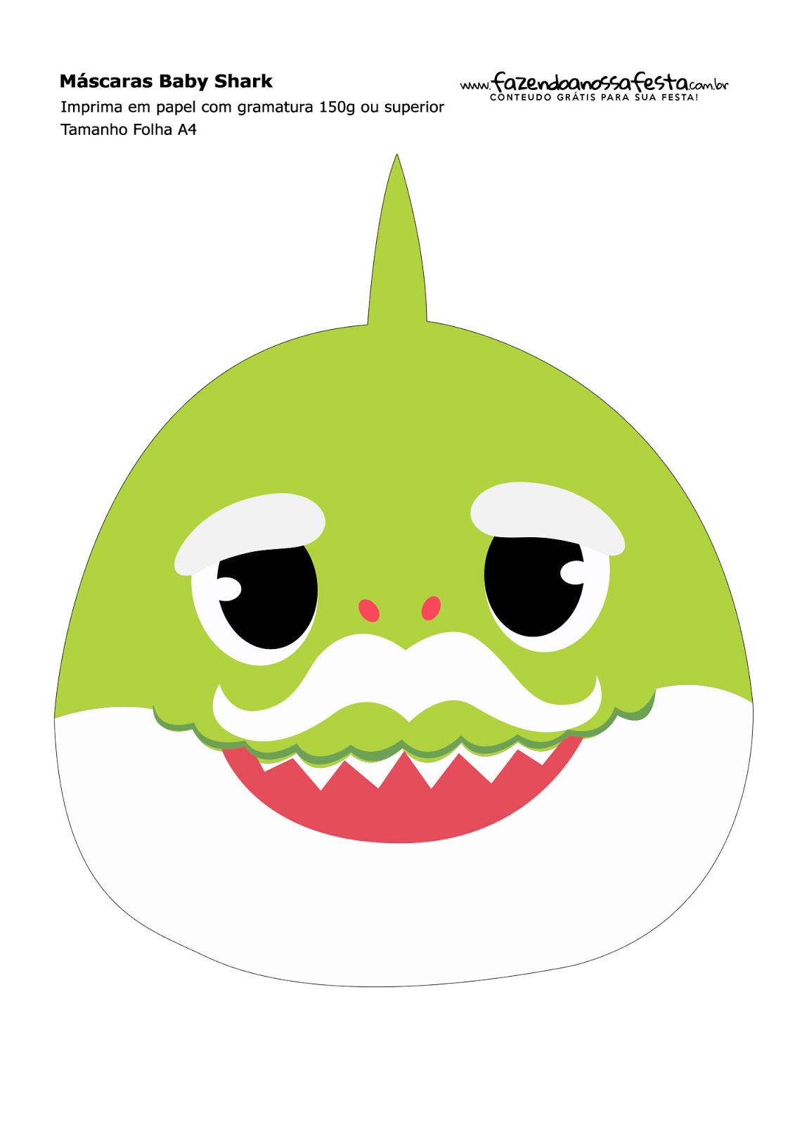 baby shark party  free printable masks