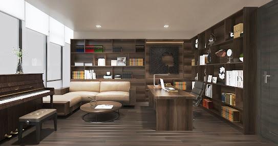 Một căn phòng sử dụng vân gỗ óc chó