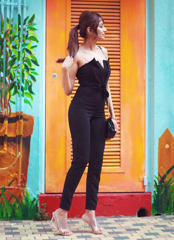 Femme Luxe Off Shoulder Black Jumpsuit