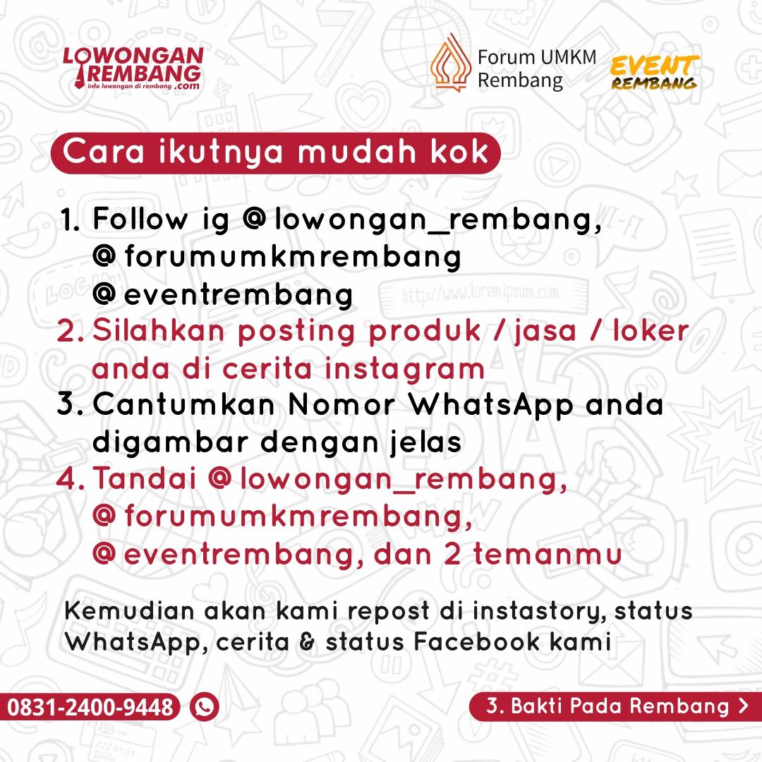 Lowongan Rembang Gandeng Forum UMKM Rembang Dan Event Rembang Selenggarakan Promo Iklan Gratis Peringati Hari Anak Nasional