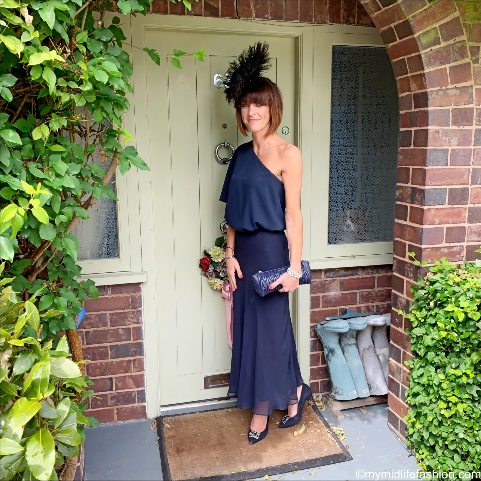 my midlife fashion, viven sheriff peacock fascinator, tibi off the shoulder top, Peter Hahn skirt in 100 percent silk, miumiu clutch, dune betsey court shoes