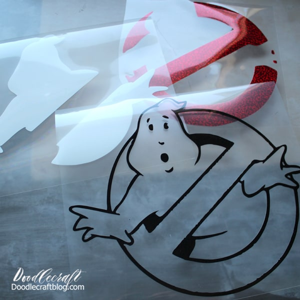 ghostbusters logo cut out of 3 different colors of iron-on vinyl using the Cricut maker