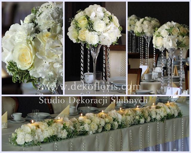 Biała dekoracja stołów weselnych Komorno