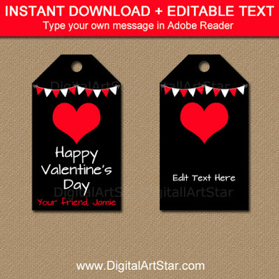 black and red printable valentines day tag template