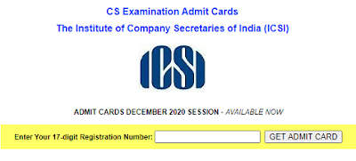 ICSI CS December 2020 Admit card download page