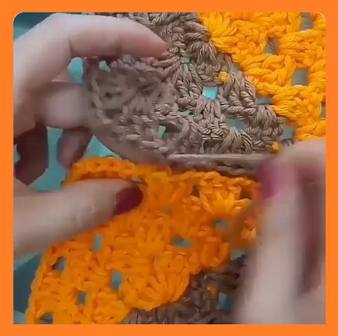 crochê: square (quadrado), juntando as peças com agulha de mão (agulha de tapeceiro)