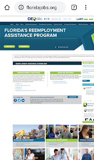 Florida Reemployment Assistance Program Website on mobile